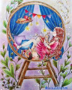 どうやって塗ったらいいか悩みながら仕上げたー #大人の塗り絵 #大人のぬりえ #コロリアージュ #カラーリングブック #エポルの森少女カラーリングブック #エポル さん #coloriage #coloirgeforadult #coloringbooks…