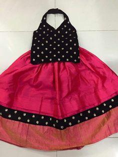 Trendy Black Top and Dark Pink Lahenga For Baby Girls Kids Party Wear Dresses, Kids Dress Wear, Kids Gown, Little Girl Dresses, Baby Dresses, Dress Girl, Kids Wear, Girls Dresses, Wedding Dresses