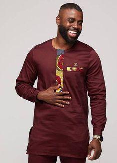 Lekan Men& African Print Traditional Shirt Dress (Yellow Blue Multi-p – D. Modern African Clothing, African Clothing For Men, African Men Fashion, African Shirts For Men, African Attire For Men, African Wear, African Dress, Nigerian Outfits, African Outfits
