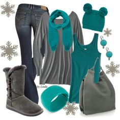 """Gray & Teal Winter Outfit"" by lindakol on Polyvore"