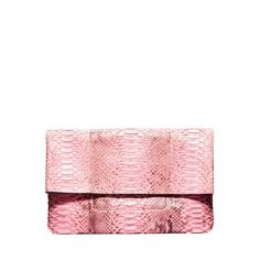 Michael Kors Janey Pink Python Fold-over Clutch - Shop the Best of What's New at ShopBAZAAR: http://shop.harpersbazaar.com/new-arrivals/the-best-of-whats-new/