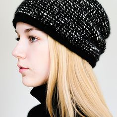 "Becot Hat, garter stitch stripes and slouchy shape, 1 skein black, 1 skein white/black (120 yards each skein worsted weight, 20 st & 24 rows = 4"" St st; 16 st & 32 rows = 4"" in garter using 7 needles)"