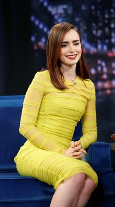 Lily Collins style   Jimmy Fallon