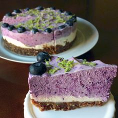 Pretty purple raw cheesecake naturally colored with blueberries!