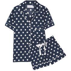 Three J NYC Eloise polka-dot cotton-poplin pajama set ($125) ❤ liked on Polyvore featuring intimates, sleepwear, pajamas, blue, blue slip, polka dot pjs, polka dot pajamas, polka dot sleepwear and polka dot pajama set