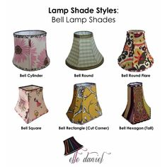 Do you know your lampshade styles? Order custom lamp shades (703-623-5952) or buy designer lamp shades at www.etsy.com/shop/elledaniel. #LampShades #Custom #Designer