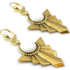 Gold and White Art Deco Fan Earrings