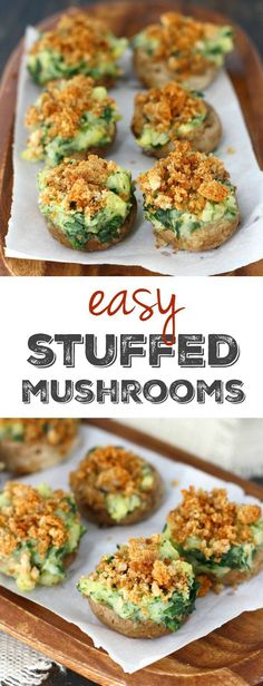 Vegan Stuffed Mushrooms These easy stuffed mushrooms are perfect for your next party! They're stuffed wtih potatoes and spinach and topped with buttery breadcrumbs. The post Vegan Stuffed Mushrooms appeared first on Vegan. Vegan Foods, Vegan Snacks, Vegan Dishes, Easy Vegan Meals, Vegan Apps, Vegan Appetizers, Appetizer Recipes, Avacado Appetizers, Party Appetizers