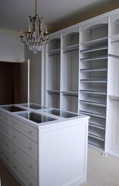 Master Dressing Room with Island, Shoe Fences & Rosettes traditional closet