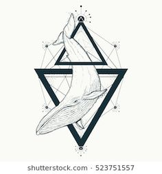 Creative geometric whale tattoo art t-shirt print design poster textile. Mystical symbol of adventure, dreams Marine Tattoo, Compass Tattoo, Adventure Symbol, Water Symbol, Travel Baby Showers, Whale Tattoos, Shirt Print Design, Life Tattoos, Traditional Tattoo