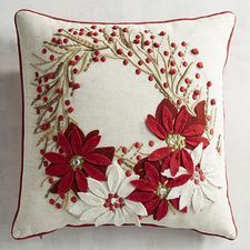 The iconic poinsettia gets a glamorous treatment on our holiday pillow. Beautifully embroidered and appliqued on a soft cotton/linen-blend front this wreath of poinsettias will bloom for many winters to come. Christmas Room, Christmas Sewing, Christmas Embroidery, Cozy Christmas, Outdoor Christmas, Christmas Wreaths, Christmas Crafts, Christmas Cushions, Christmas Pillow