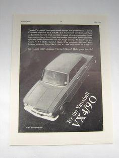 =-=Original Vauxhall VX4/90 Advert from 1962 - Car Ad Advertisement