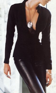 Gianni Versace Silk Blouse & Leather Pants Nice .... MINUS THE GAP