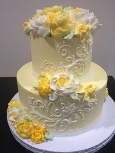 Cake design by White Flower Cake Shoppe Cool Wedding Cakes, Elegant Wedding Cakes, Beautiful Wedding Cakes, Wedding Cake Designs, Beautiful Cakes, Crazy Wedding, Yellow Wedding, Buttercream Wedding Cake, Buttercream Flowers
