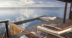 Hilton Bora Bora Nui Resort and Spa, French Polynesia - Sunset Pool Overwater Villa - Terrace Vacation Resorts, Dream Vacations, Bora Bora Hotels, Luxury Rooms, Luxury Hotels, Overwater Bungalows, French Polynesia, Resort Spa, Maldives