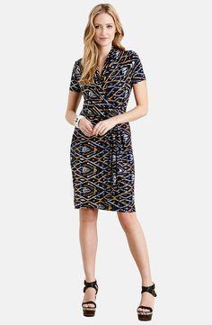 Karen Kane 'Graphic Diamond' Cascade Faux Wrap Dress