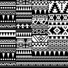 12 Black And White Aztec Pattern Paper pack by DigitalMagicShop