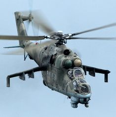 Hind D // gunship, attack helo - THE MOST heavily armored helicopter of all time; and yet- one round can literally cut it in half longitudinally! Attack Helicopter, Military Helicopter, Russian Military Aircraft, Fighter Aircraft, Fighter Jets, Mi 24 Hind, Military Weapons, Military Brat, Military Equipment