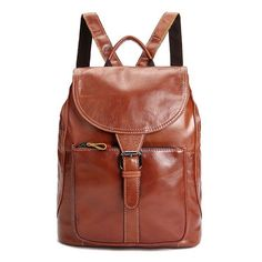 Fashion Womens Genuine Oil Wax Cow Leather Backpack Travel Bag Handbag Brown M - Ideas of Handbag Backpack Backpack Travel Bag, Fashion Backpack, Travel Bags, Rucksack Backpack, Cowhide Leather, Cow Leather, Leather Bags, Leather Craft, Leather School Backpack
