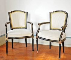 6 KARGES French Louis XVI Black & Gold DINING CHAIRS