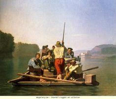 George Caleb Bingham (1811-1879) Lighter Relieving the Steamboat Aground  1846-47. Olga's Gallery.