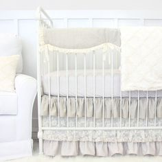 Caden Lane is big on vintage style baby bedding. This is the perfect baby bedding set from our linen and lace collections.   Jacquelyn's Linen & Lace Bumperless Baby by CadenLaneBabyBedding
