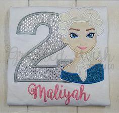 Frozen Elsa Applique Birthday Shirt by GrantedWishDesignCo on Etsy