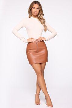 Terry High Rise Mini Skirt - Camel