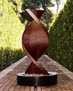Twisted Copper Fountain modern outdoor fountains