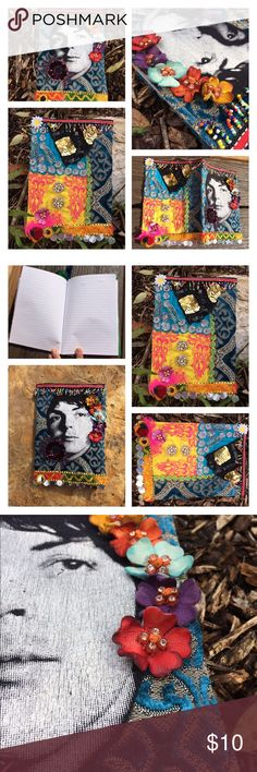 Lil Paul McCartney Beatles Patchwork Journal Book fun little journal/notebook featuring a reconstructed Paul McCartney of The Beatles & Wings T Shirt surrounded by a patchwork collection of some of my most beautiful & exquisite cuts of brocade, sequined, embroidered, beaded and knit fabrics! Perfect gift idea! Journal is a small thin composition notebook w/ 60 college ruled pages. Measures 8.25 inches X 5.75 inches. Handmade Other