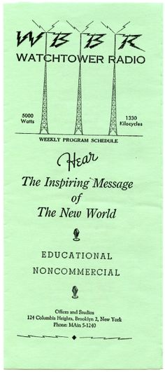 "WBBR was the radio station in New York back in the days of radio and was on the ""cutting edge"" of technology even then."