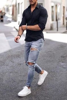 King of Autumn Masculine Black Ambitious Style Creators Leonadem King of Autumn Masculine Black Ambitious Style Creators Leonadem Smart Casual Menswear, Men Casual, Stylish Mens Outfits, Casual Outfits, Denim Jacket Men, Gentleman Style, Men Looks, Mens Clothing Styles, Casual Shirts