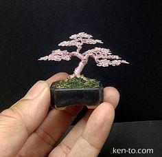 Mame Rose Wire bonsai tree sculpture by Ken To by KenToArt.deviantart.com on @deviantART