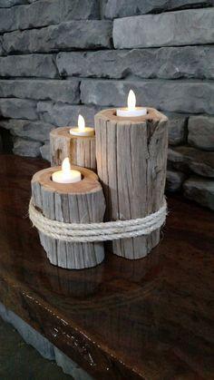 Driftwood candle holder. ECH105