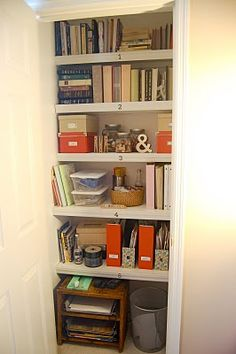 organized closet. I need a closet like this for all my paper and craft stuff.