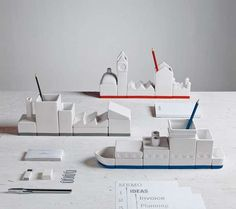 Whimsical Modular Desk Organizers - Héctor Serrano's Desk Organizer Set is Building-Block Like