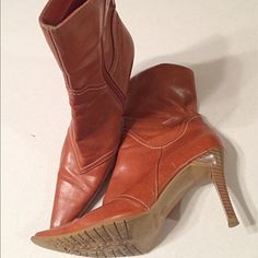 BOGO FREE!!  Predictions Booties These are really cute Camel colors faux leather pointy short boots. 3 inch heel. Has some unraveling wear at top of boots and wear to toe tips.  .  Predictions Shoes Heeled Boots