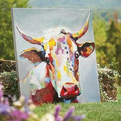 Bessie Wall Art - looks great in our living room. Nice bright cheery colors, lots of texture.