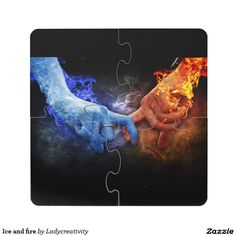 Ice and fire puzzle coaster