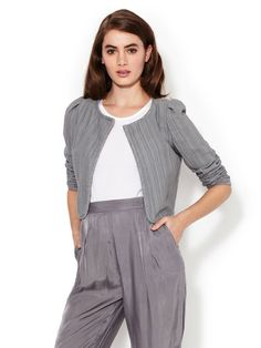 Textured Cropped Open Front Jacket by Z Spoke Zac Posen at Gilt