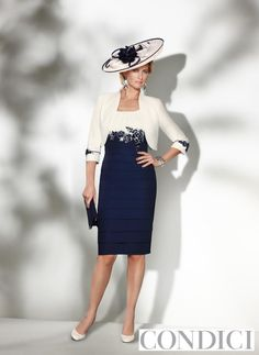 Condici - Condici motehr of the bride dress and bolero navy and cream 70806N: 12 - Fab Frocks Online Boutique
