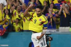 Falcao Garcia of the Colombian National Team celebrates after scoring a goal in the second half during the friendly match against the Venezuelan. Fifa, Carlos Valderrama, Two By Two, Baseball Cards, Celebrities, Sports, Goal, Twitter, United States