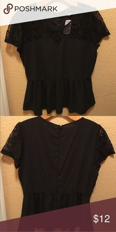 Black lace peplum blouse Worn once. In excellent condition. Tops Blouses