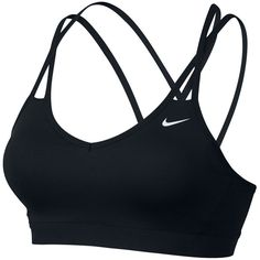 Nike Pro Indy Strappy Bra (115 BRL) ❤ liked on Polyvore featuring activewear, sports bras, bras, sports bra, sport, tops, lingerie, black, nike activewear and strappy sports bra