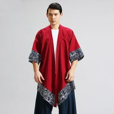 dc3fece63b8  4366 Red Black Kimono Jacket Men Harajuku Streetwear Traditional Chinese Male  Kimono Casual Linen Asymmetric Coat Open Stitch. Yesterday s price  US   32.36 ...