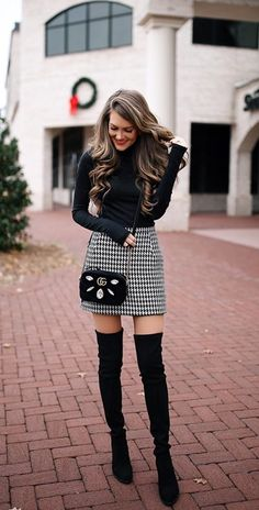 Stiefel lll ways-wear-knee-high-boots-outfit-winter Plus Dimension Wedding ceremony Clothes Weddings Long Boots Outfit, Thigh High Boots Outfit, Winter Boots Outfits, Winter Skirt Outfit, Fall Outfits For Work, Winter Fashion Outfits, Trendy Outfits, Skirt Outfits, Fashion Boots