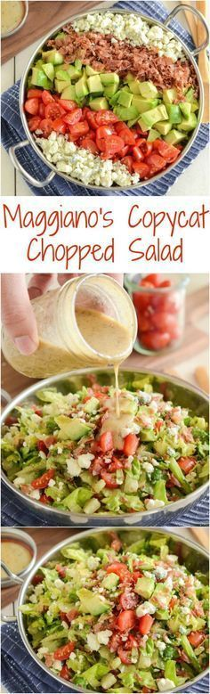 Copycat Maggiano's Chopped Salad Recipe! Crispy pancetta, avocado, tomatoes…
