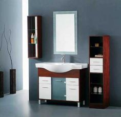 Like this minimalism design for bathroom cabinets, match the wall