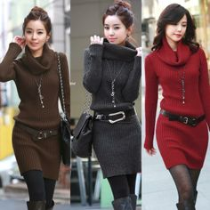 2013 spring and autumn women solid color turn down collar slim Long knitted Pullover Long sleeve Sweater Dress With Belt  $19.98