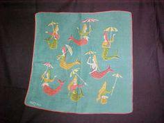 vintage TAMMIS KEEFE Hanky/Hankie W/Mermaids with Umbrellas